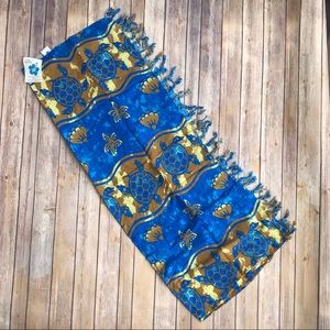 Hibiscus Collection Swim - NWT Hibiscus Collection Blue and Gold Print Sarong